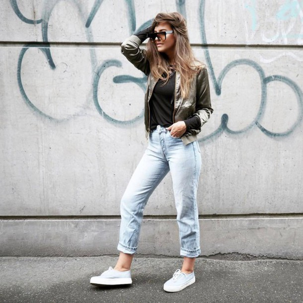 Jacket Tumblr Denim Jeans Light Blue Jeans Sneakers