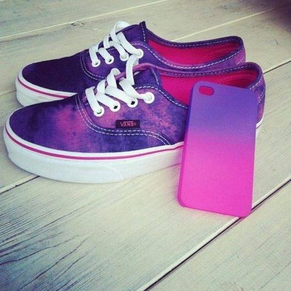shoes purple white cute purple shoes phone cover pink ombre vans tie dye