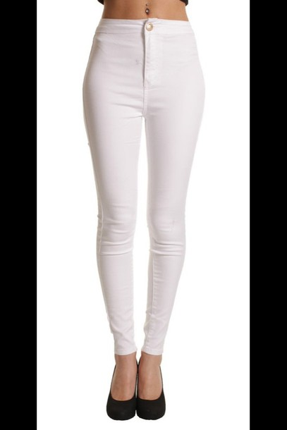 Jeans: high waisted jeans, white, white topshop high wasted jeans ...