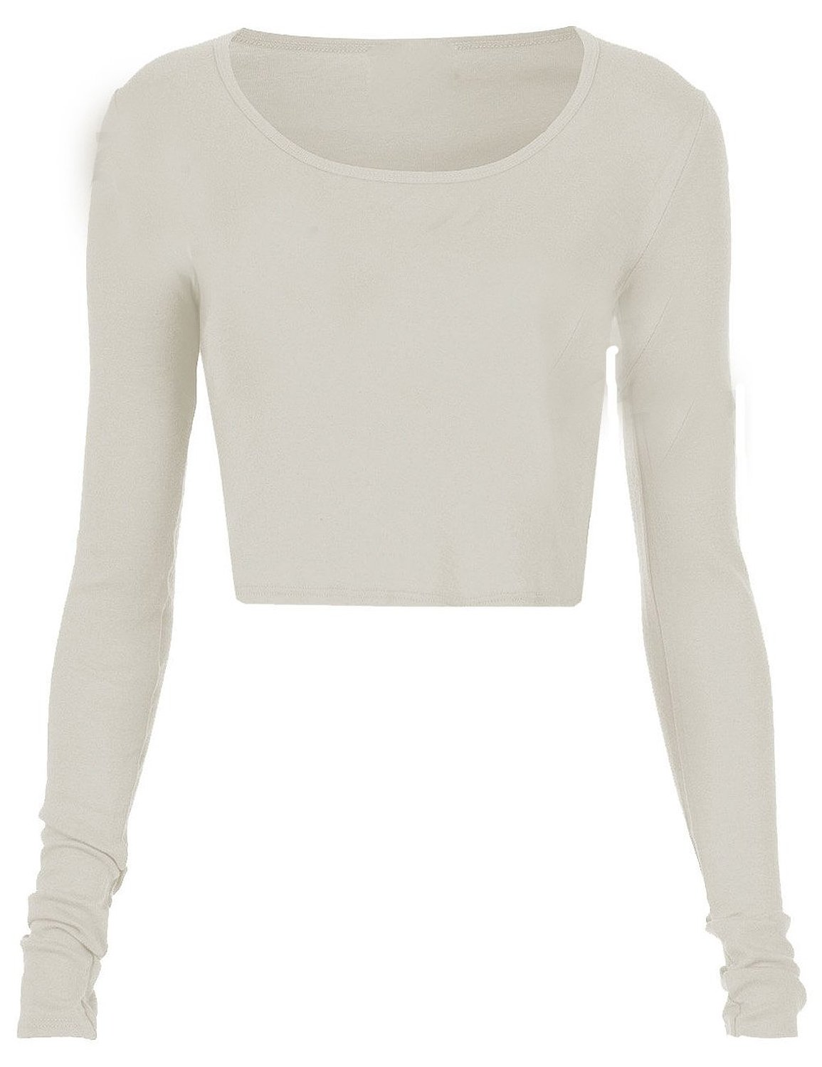 Fashion womens long sleeve crop top round neck t shirt blouse at amazon women's clothing store: