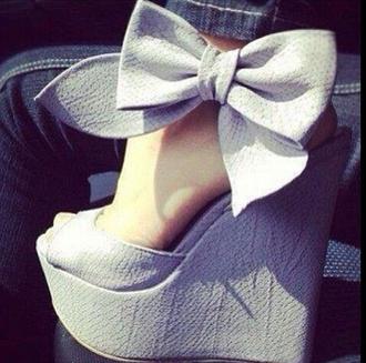 shoes bows high heels blue wedge peep toe