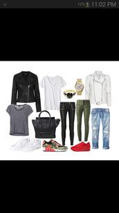 jacket,watch,sneakers,leather jacket,leather,pants,ring,black,white,khaki,bag,black bag,shirt,jeans