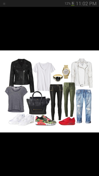 jacket watch sneakers leather jacket leather pants ring black white kaki bag black bag shirt jeans