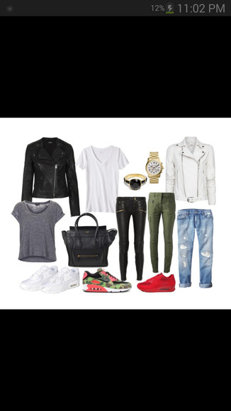black jeans kaki pants shirt jacket white watch sneakers leather jacket leather ring bag black bag