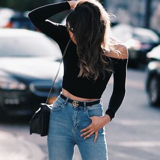 top tumblr jeans denim blue jeans black top off the shoulder off the shoulder top long sleeve crop top long sleeves crop tops black crop top belt gucci na-kd fashion