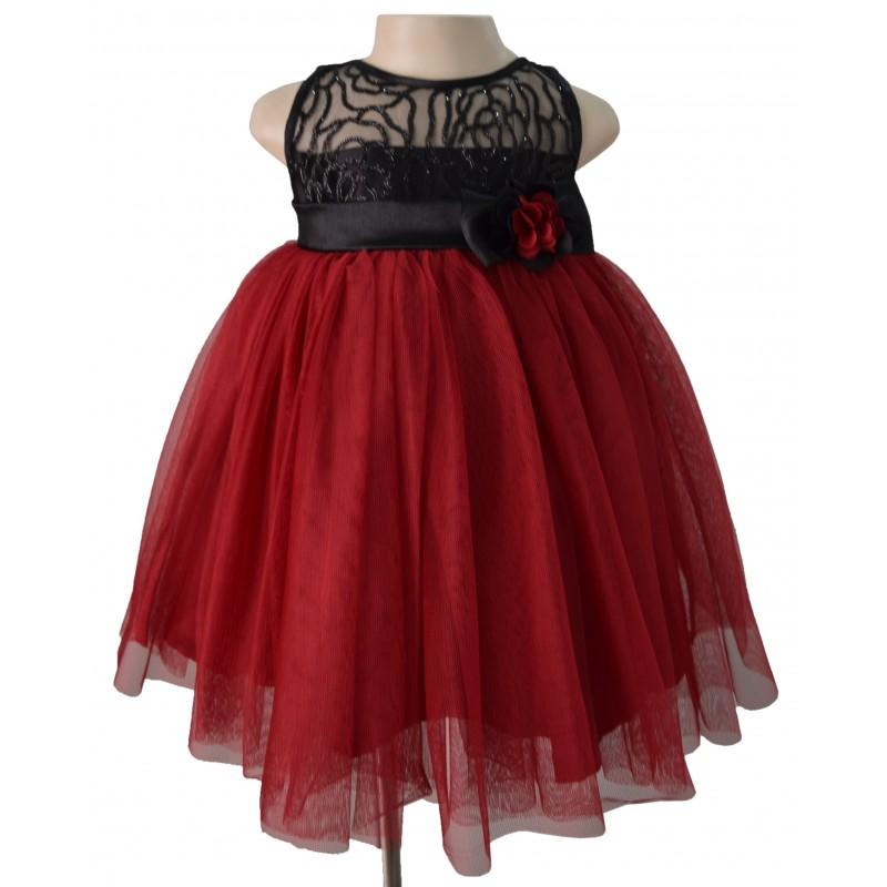 Faye Maroon & Black Sequence Dress