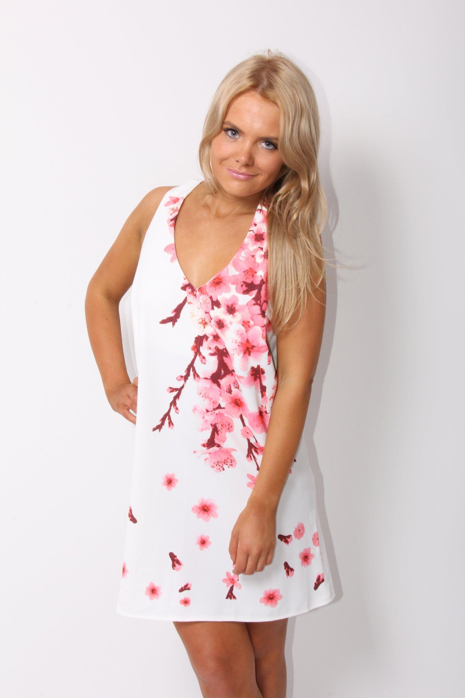 White Party Dress - White Cherry Blossom Printed Mini | UsTrendy