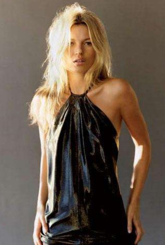 kate moss black dress hot sexy dress model halter neck dress