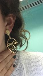 Hollow Design Face Geometric Stud Earrings
