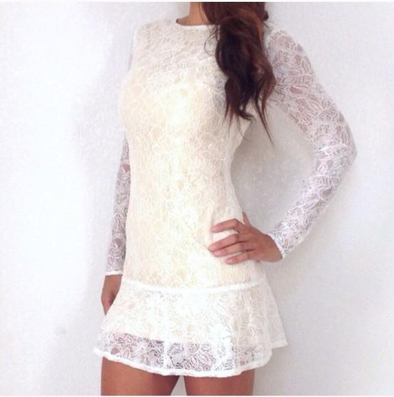 dress white lace dress long sleeve dress lace dress style dress lace white long elegant backless shift dress nude high heels blouse