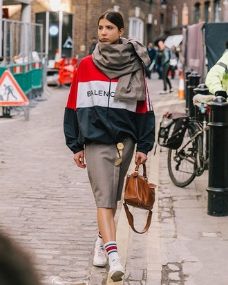 jacket balenciaga scarf skirt midi skirt grey skirt sneakers white sneakers bag brown bag sports jacket socks