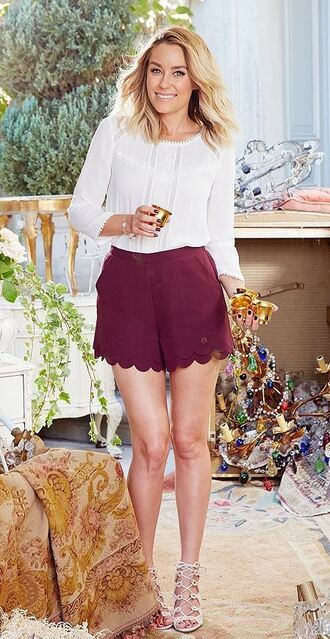 blouse shorts burgundy lauren conrad sandals lace up shoes