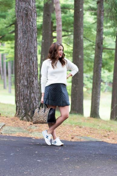 jewels bag sequins and stripes blogger new balance leopard print
