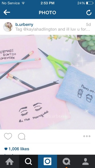 bag blue pink indie ariana grande grunge pale aesthetic beach kawaii pretty pencil case stationary