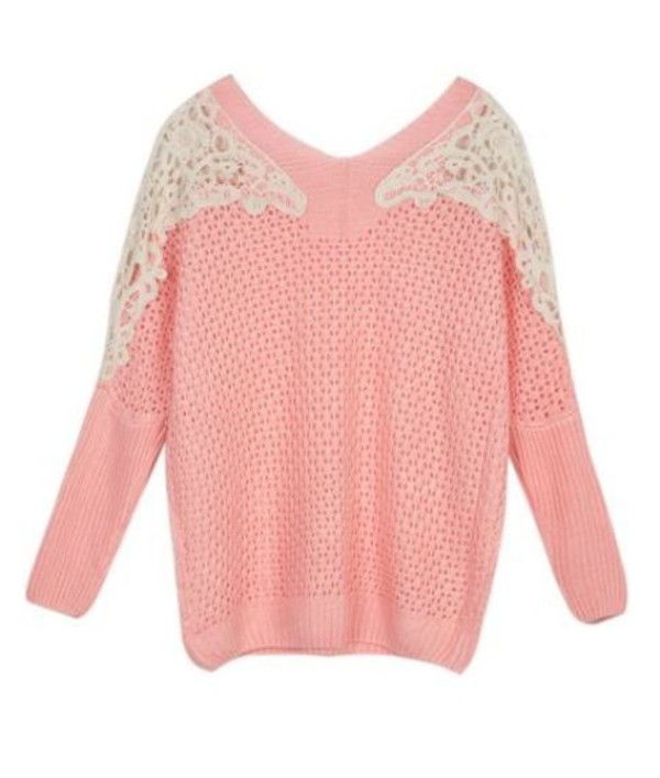 pink rose pink sweater crochet shoulders crochet lace shoulders lace contrast acrylic sweater www.ustrendy.com