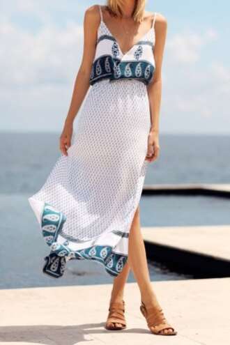dress boho summer beach maxi dress fashion style white blue bohemian print