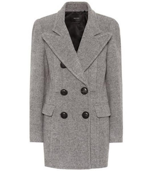 Isabel Marant Elea double-breasted wool coat in grey