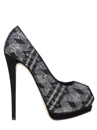 glitter pumps lace silver black shoes