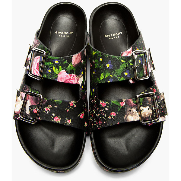 Givenchy Black Leather Floral Print Casual Sandals