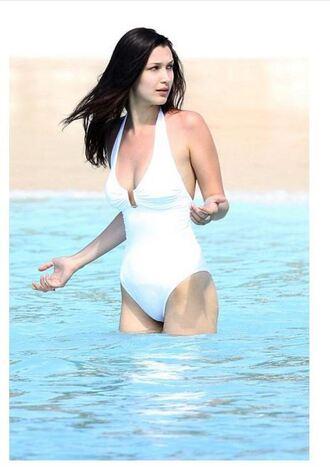 swimwear one piece swimsuit bella hadid beach white swimwear bella hadid swimwear