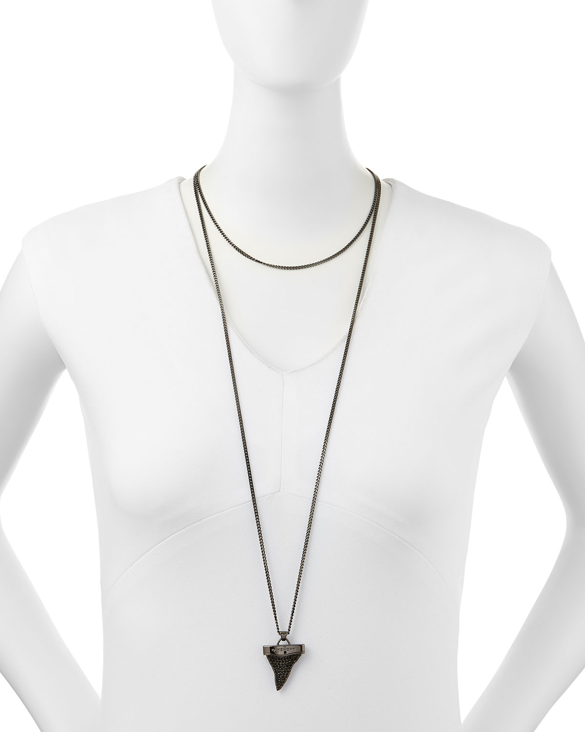 Gunmetal Pave Shark Tooth Necklace, 36