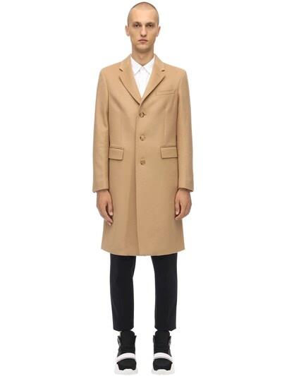 BURBERRY Single Breast Wool & Cashmere Coat Camel