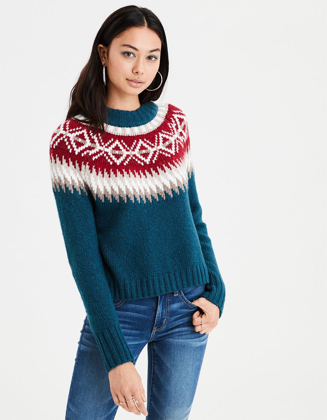 AE Fair Isle Pullover Sweater, Teal