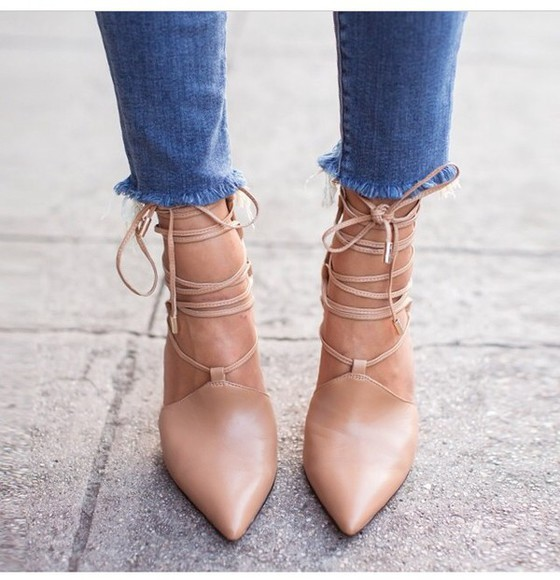 lace up heels fashion nude