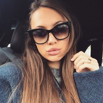 sunglasses girl brunette straight hair long hair eyebrows