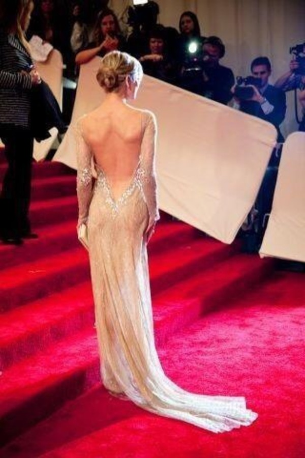 dress long pearl nude red carpet