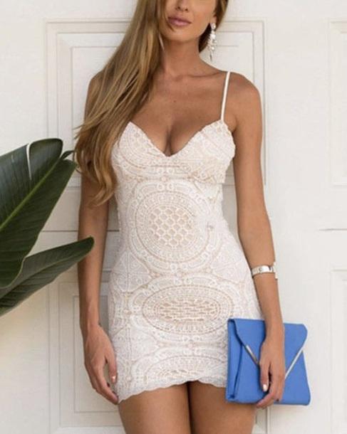 dress white lace v neck sweetheart neckline mini dress party dress prom dress