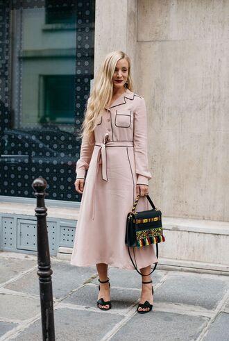 dress fashion week street style fashion week 2016 fashion week paris fashion week 2016 pink dress tumblr midi dress long sleeves long sleeve dress bag black bag sandals sandal heels high heel sandals black sandals streetstyle pajama style