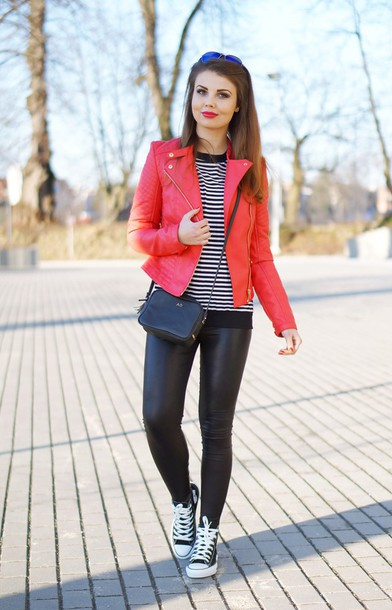 a piece of anna blogger jacket red jacket striped top leather leggings shoes pants sweater sunglasses bag