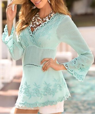 blouse mint top fashion lace summer girly embroidered see through long sleeves
