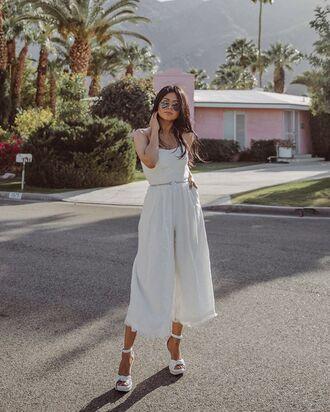 shoes jumpsuit white jumpsuit sandals white sandals white shoes sunglasses belt platform sandals