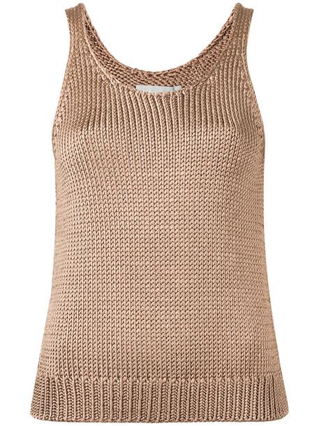 Vince - knitted tank top - women - Silk - S, Brown, Silk