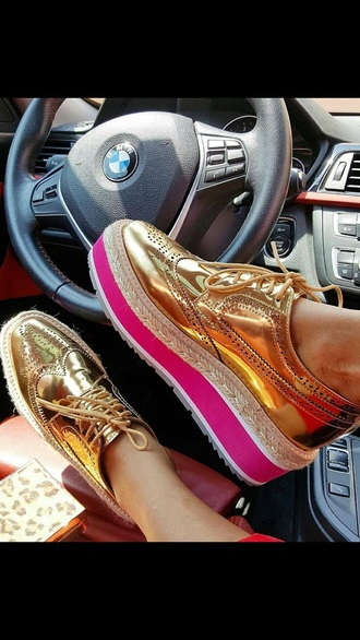 shoes oxfords gold brogue shoes gold shoes platform shoes