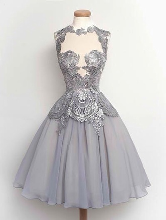 grey dress lace dress lace grey dress silver prom prom dress short prom dress beautiful tulle skirt