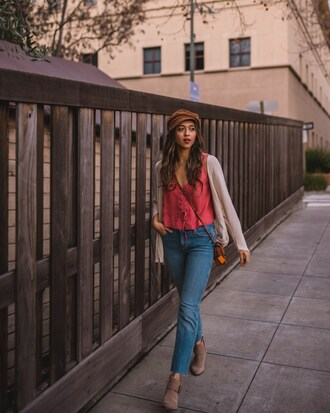 cuppajyo blogger top jeans hat cardigan bag shoes fisherman cap ankle boots pink top crossbody bag