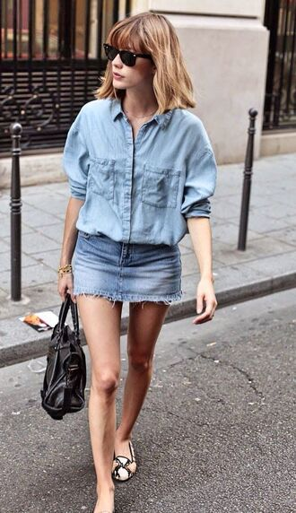 shirt denim mini skirt animal print ballet double denim denim skirt denim shirt button down denim shirt black handbag balenciaga balenciaga bag ballet flats black wayfarer harper & harley blogger