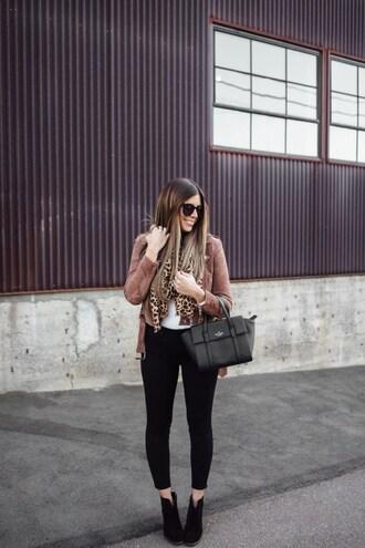 mint arrow blogger scarf t-shirt jacket jeans shoes sunglasses bag fall outfits black pants handbag ankle boots