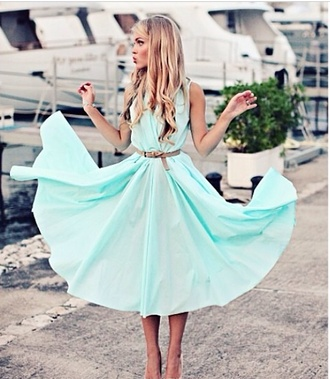 dress teal dress aqua blue blonde hair beautiful high heels model