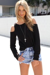 shirt,shorts,cross,jewelry,necklace,long sleeves,sweater,sabo skirts,gold sholder,off the shoulder,top,black,blue,blue shorts,High waisted shorts,jewels,summer,off the shoulder sweater,black top