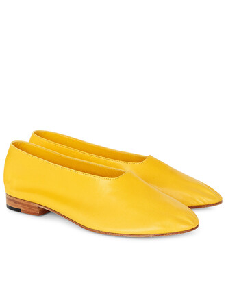 shoes leather yellow