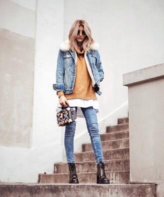 jacket tumblr denim denim jacket fur collar jacket sweater sweater weather knit knitwear knitted sweater jeans boots black boots