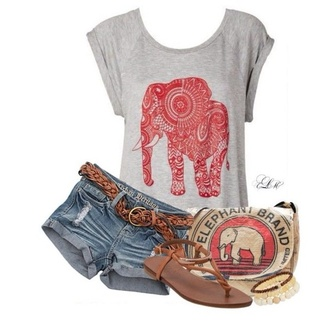shirt grey elephant red