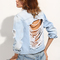 Blue bottons ripped back denim jacket -shein(sheinside)