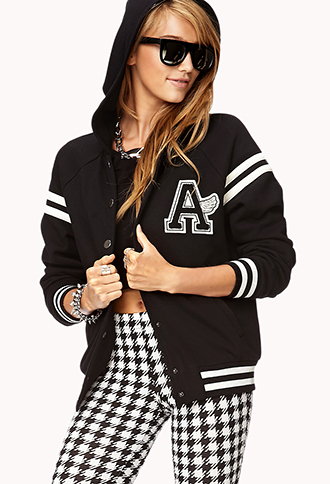 Easy Hooded Varsity Jacket | FOREVER 21 - 2000076459