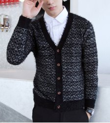 Stylish V-Neck Slimming Color Block Splicing Personality Print Long Sleeves Thicken Cardigan For Men