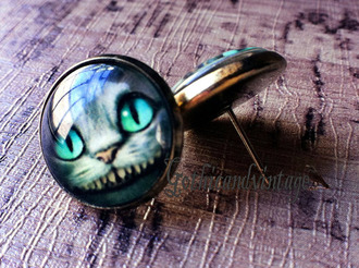 jewels cheshire cat cats alice in wonderland fashion cute funny earrings